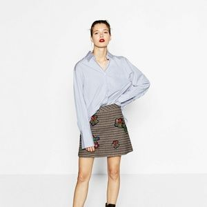 NWT Zara Size S Plaid Mini Skirt Embellished